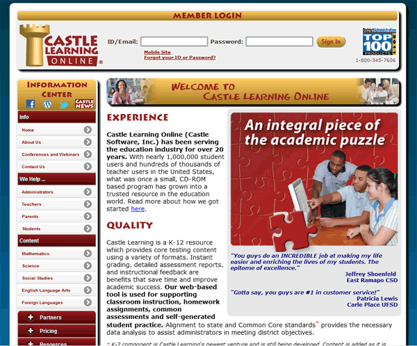 Castle Learning Online New Login Page for April 30, 2012