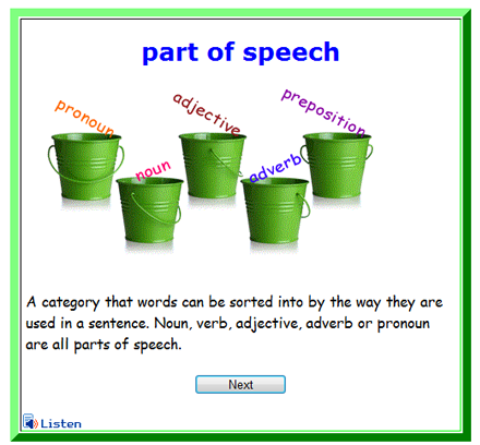 Castle Learning Flash Card - Elementary English Part of Speech