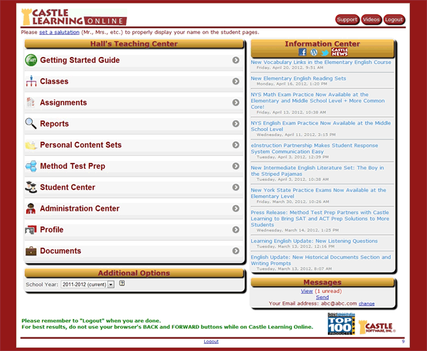 Castle Learning Online Teacher Home Page